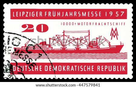 STAVROPOL, RUSSIA - JUNE 24, 2016: a stamp printed by  Germany ,  shows  Freighter A 100,  circa 1957 - stock photo