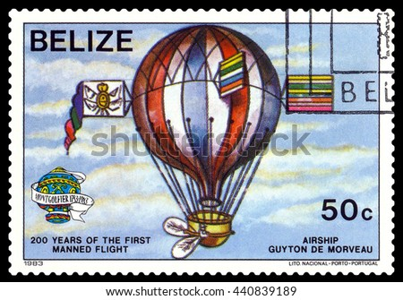 STAVROPOL, RUSSIA - JUNE 20, 2016: a stamp printed in Belize, shows an  Airship Guiton De Morveau, 200 years of manned flight, cirka 1983 - stock photo