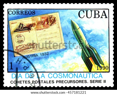 STAVROPOL, RUSSIA - MARCH 25, 2016: A stamp printed in Cuba shows  rocket, Austria 1932, cosmonautics Day, circa 1990 - stock photo