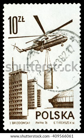 STAVROPOL, RUSSIA - MARCH 30, 2016: A stamp printed in the Poland, shows Helicopter Mi-6, circa 1976 - stock photo