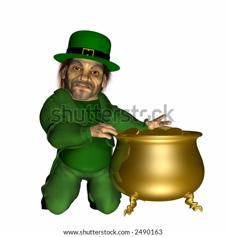 Stay Away from Me Gold A leprechaun protecting his pot of gold. Isolated on a white background.