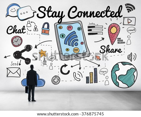 Stay Connected Network Online Relationship Concept - stock photo