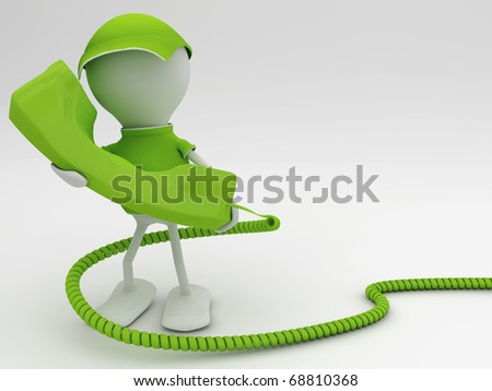 Stay connected. Telecom concept 3d render in green. - stock photo