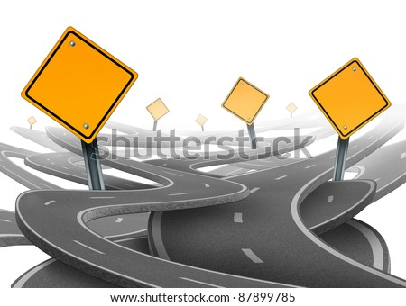 Stay on course symbol as a dilemma and concept of losing control of goals and strategic journey choosing the right path for business with blank yellow traffic signs tangled roads and highways.