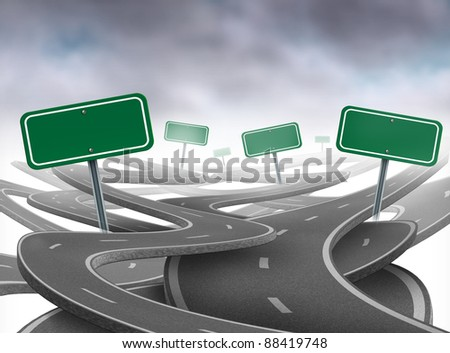 Stay on course symbol as a dilemma and concept of losing control of ones goals and strategic journey choosing the right strategic path for business with blank green traffic signs tangled roads. - stock photo
