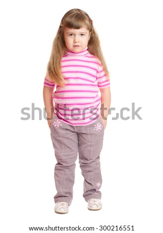 Staying little funny girl isolated - stock photo