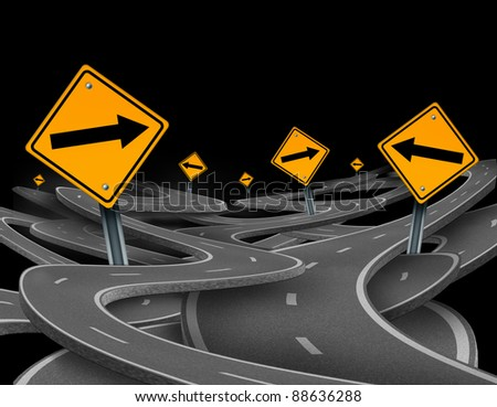 Staying on course symbol as a dilemma and concept of losing control and strategic journey choosing the right path for business with traffic signs tangled roads and highways in a confused direction. - stock photo