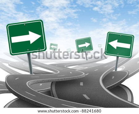 Staying on course symbol  as a dilemma and concept of losing control of ones goals and strategic journey for business with green traffic signs tangled highways in a confused direction with arrows. - stock photo