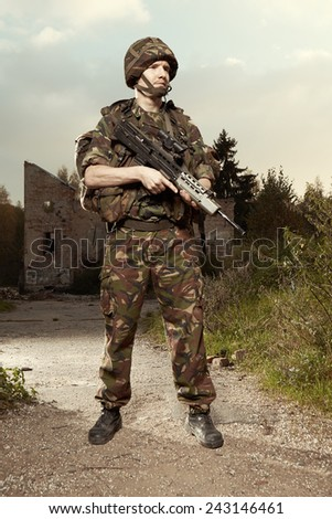 Staying soldier - stock photo