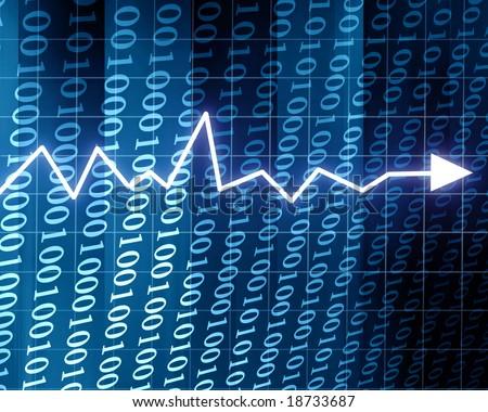 Steady arrow graph on a blue background - stock photo