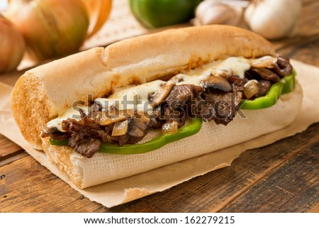 Steak and Cheese Sub - stock photo
