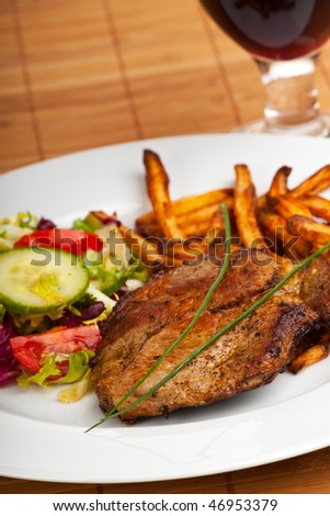 steak and french fries - stock photo