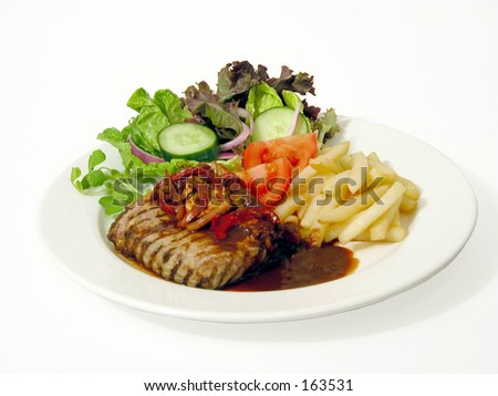 steak and fries - stock photo