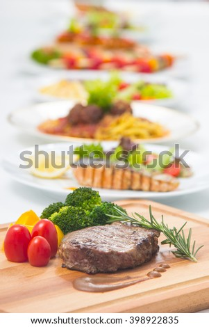 Steak beef with vegetable for serve to customer