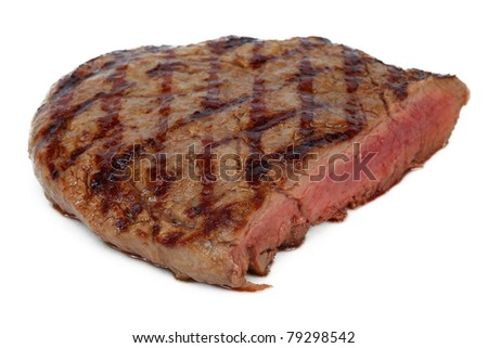 steak grilled with blood, isolated
