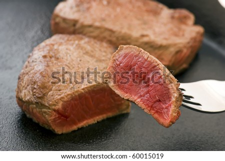 Steak in Pan - stock photo