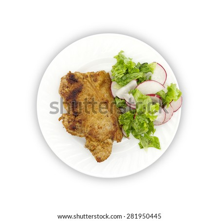Steak meat grilled with salad made with radish, fresh lettuce and olive oil, in a white plate. Top view. - stock photo