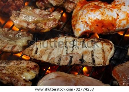 Steak meat on BBQ - stock photo