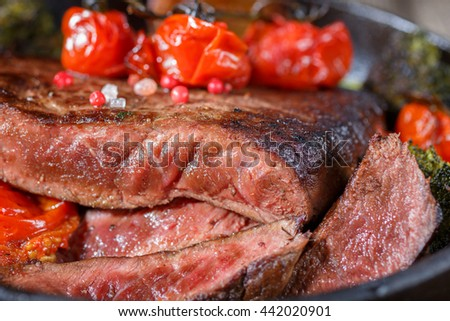 steak medium rare with a cut. meat barbecue. Food shot side close-up