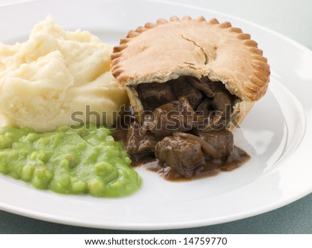 Steak Pie Mash and Mushy Peas