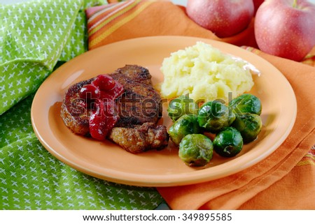 Steak under cranberry sauce garnished with Brussels sprouts and mashed potatoes. - stock photo