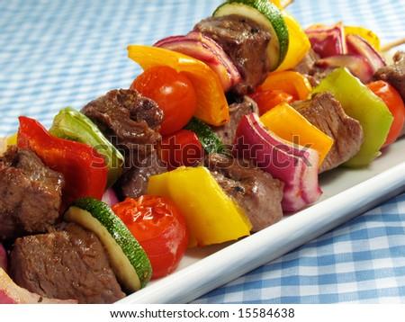 Steak & Vegetable Kebabs - stock photo