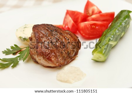steak with fresh vegetables