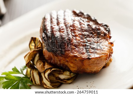 steak with grilled aubergines - stock photo