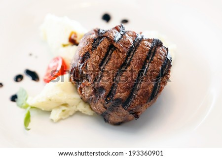 steak with mashed potatoes - stock photo