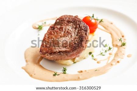 steak with mashed potatoes - stock photo