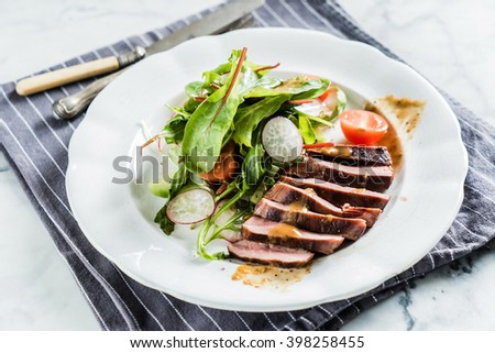 steak with salad - stock photo