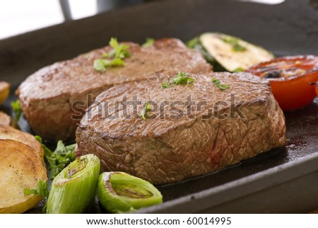 Steak with Vegetable - stock photo