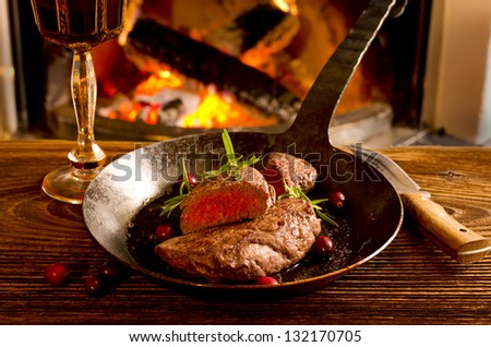 steaks in the fry pan - stock photo