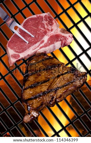 Steaks on The Grill. - stock photo
