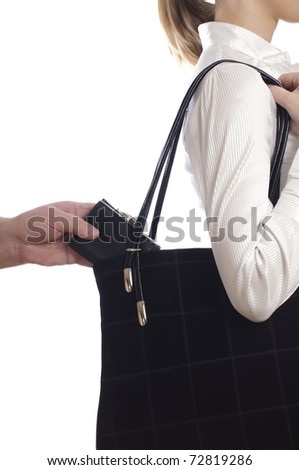 stealing a purse from the bag on white - stock photo