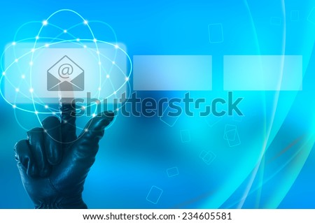 Stealing e-mail data concept with hand wearing black glove touching a virtual screen - stock photo