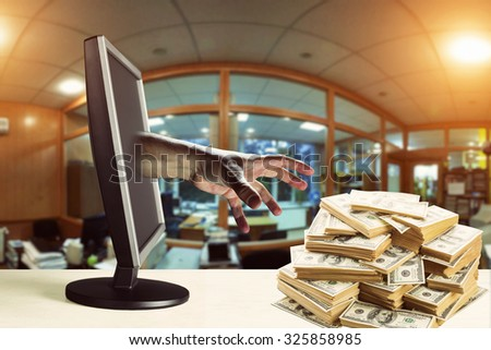 Stealing money - stock photo
