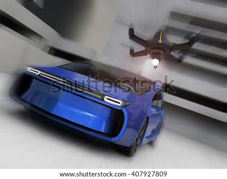 Stealth drone chasing car in the sky. 3D rendering image - stock photo