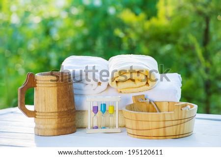 Steam bath accessories - stock photo
