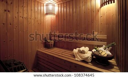 steam bath room - stock photo