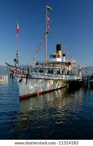 Steam Boat on Lake Geneva - stock photo
