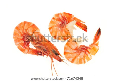 Steam Cooked Tiger Prawns Isolated On White Background