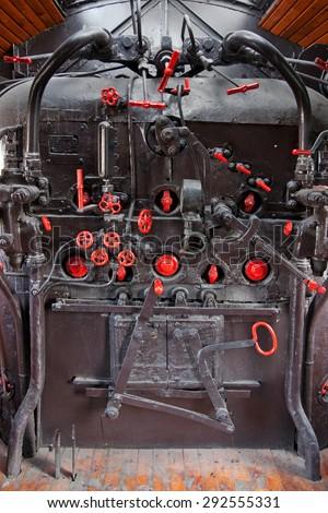 steam engine cockpit - stock photo
