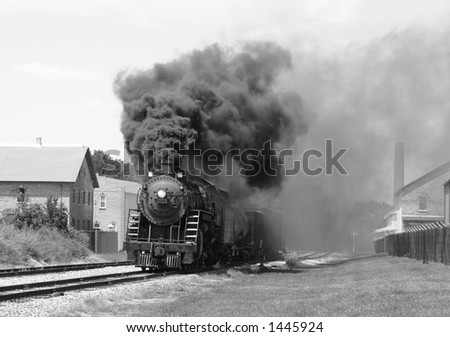 steam engine in monocolor - stock photo