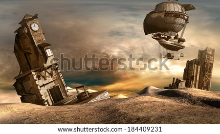 Steam flying machine over ruined city - stock photo