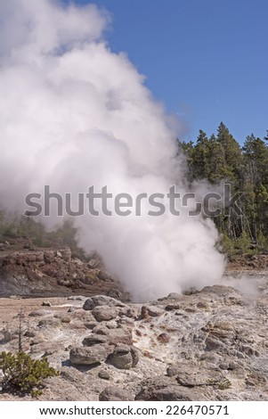 Steam from Steamboat Geyser in the Norris Geyser Basin - stock photo