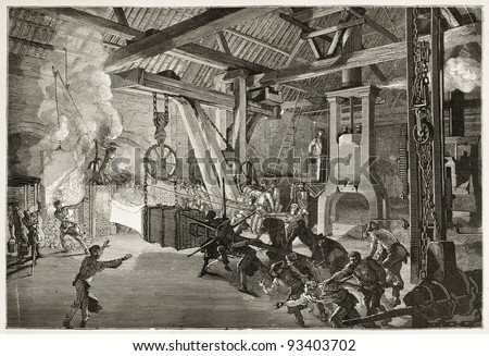 Steam hammer old illustration in Le Creusot foundry. Created by Bonhomme, published on Le Tour du Monde, Paris, 1867 - stock photo