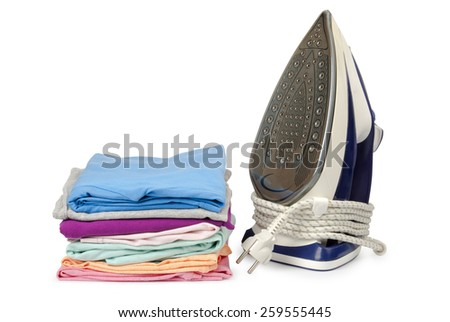 Steam iron and with clothes, on white background - stock photo
