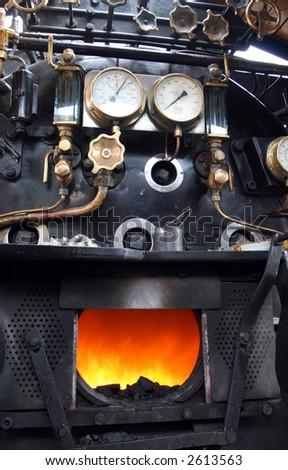 Steam locomotive cockpit - stock photo