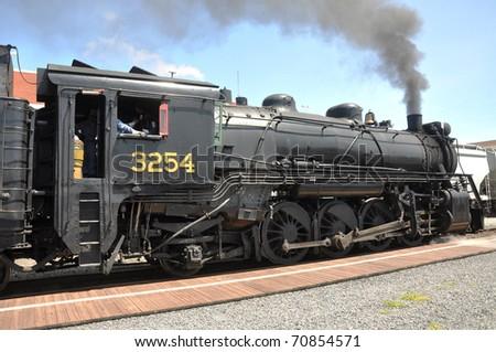Steam locomotive in Steamtown National Historic Site in Scranton, Pennsylvania, USA - stock photo